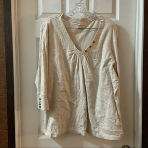 Basic Editions Beige V Neck 3/4 Sleeve Top size 2X